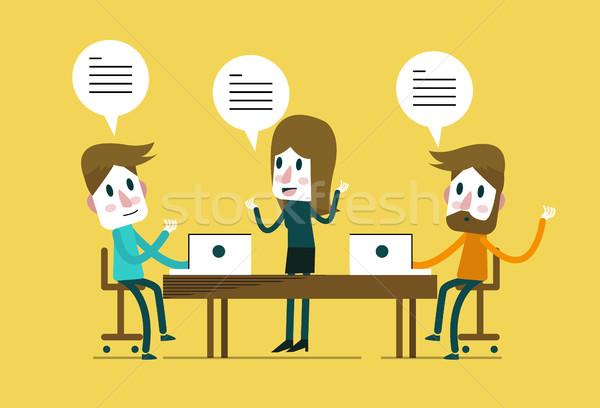 Reunión de negocios trabajo en equipo diseno elementos oficina Foto stock © mangsaab