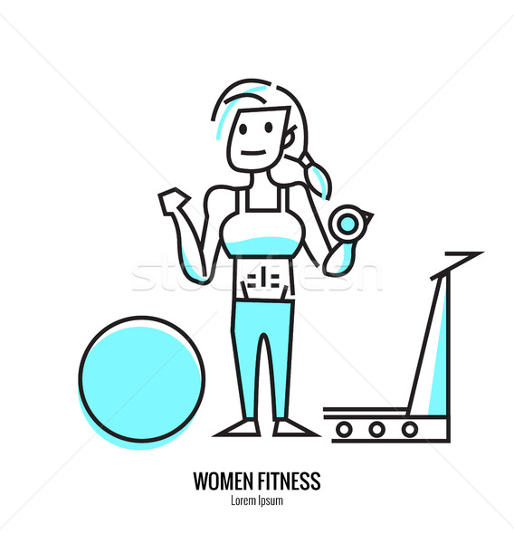 Women lifting a dumbbell, barbell with fitness attire inside the gym. Stock photo © mangsaab