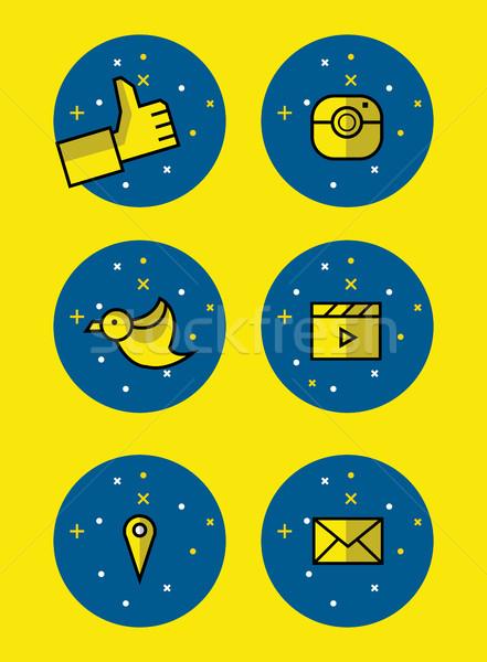Set of social icons. Stock photo © mangsaab