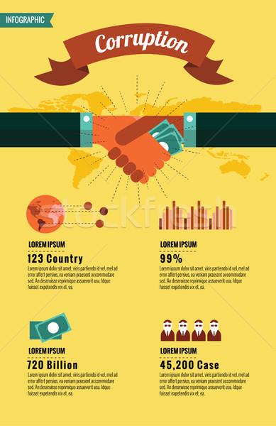Világ korrupció infografika dizájn elem üzlet pénz Stock fotó © mangsaab