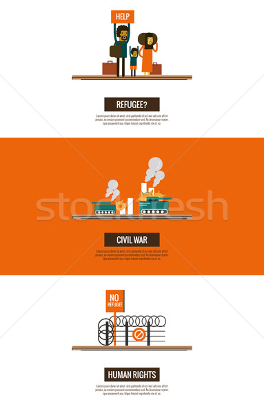 Refugees of the Syrian Civil War infographics.  Stock photo © mangsaab