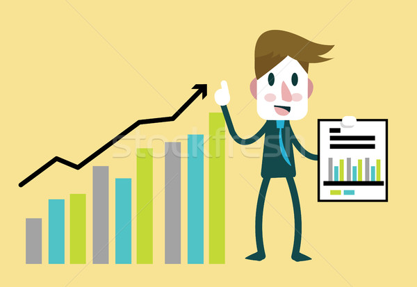 Businessman happy statistics financial profit rising bar.  Stock photo © mangsaab