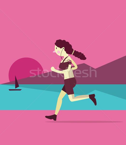 Genç kadın jogging plaj gün batımı karakter dizayn Stok fotoğraf © mangsaab