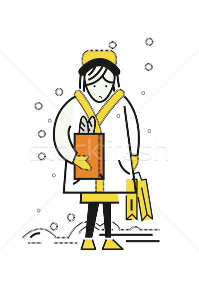 woman holding a lot shopping bag and walking on the street. Stock photo © mangsaab