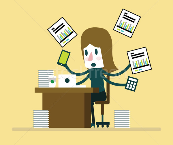 Busy businesswoman working with paperwork on her desk at office. Stock photo © mangsaab
