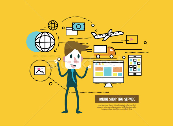 businessman with online shopping and cargo icons. Stock photo © mangsaab