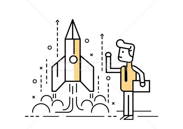 Rocket startup, Businessman control space shuttle. Stock photo © mangsaab