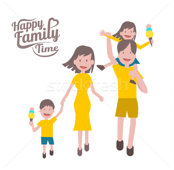 Happy family time. parent and children with cheerful smile.  Stock photo © mangsaab