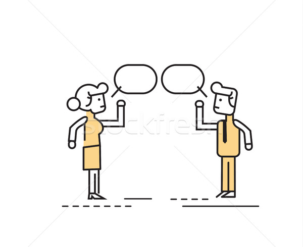 Two business people talking and discussing.  Stock photo © mangsaab