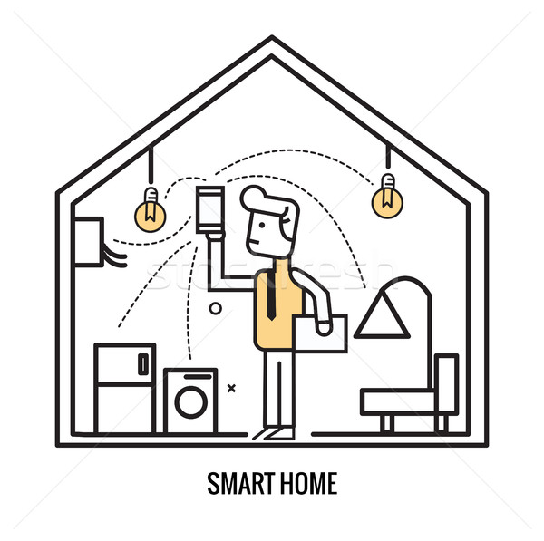 Man control home electronic by smart device.  Stock photo © mangsaab