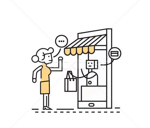 Shopping online consumismo mobile alimentari shopping ecommerce Foto d'archivio © mangsaab