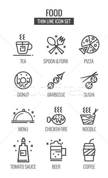 Gıda simgeler ince hat dizayn vektör Stok fotoğraf © mangsaab