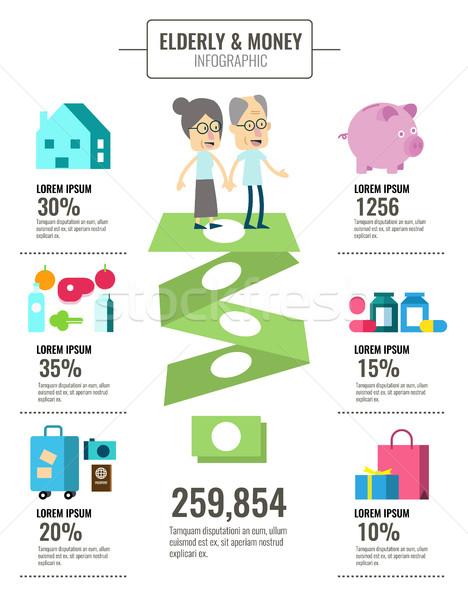 Ancianos personas dinero ahorro información gráficos Foto stock © mangsaab