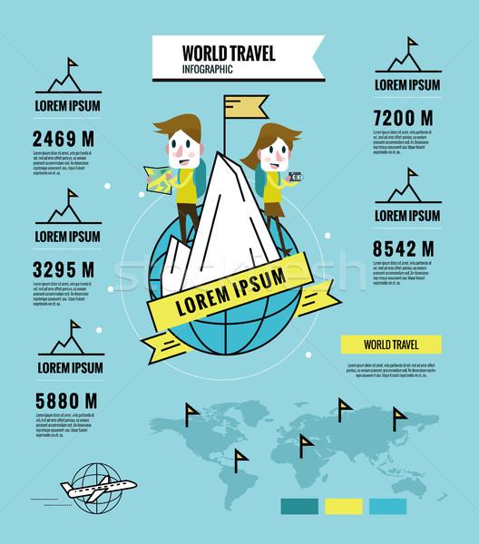 Férfi nő mászik utazás körül világ Stock fotó © mangsaab