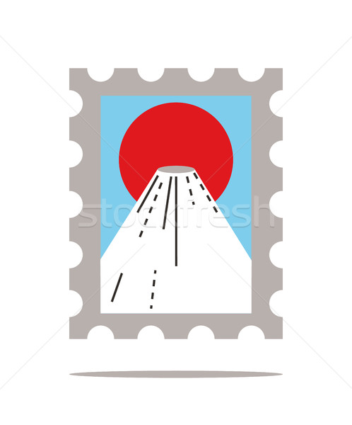 fujiyama mountain and big red sun stamps. Stock photo © mangsaab