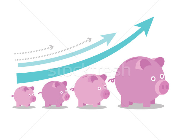 <br>Pink piggy banks increasing in size with growth arrows.  Stock photo © mangsaab