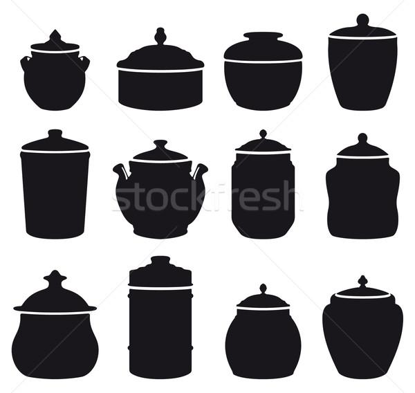 двенадцать черно белые продовольствие черный силуэта Сток-фото © mannaggia