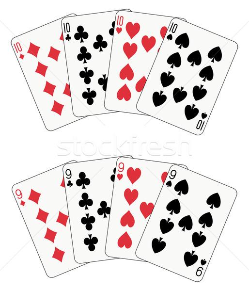 Poker tien negen speelkaarten twee gezicht Stockfoto © mannaggia