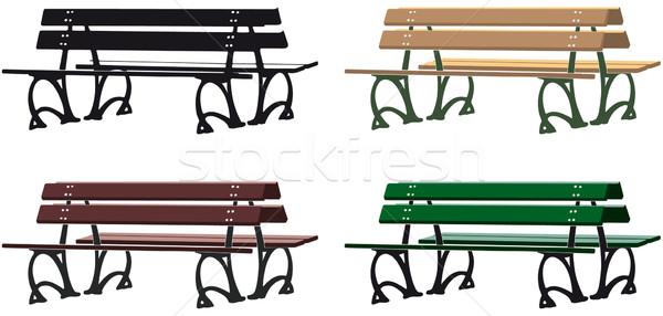 Park bank silhouet drie verschillend kleur Stockfoto © mannaggia