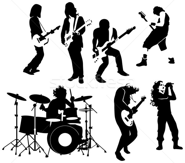 Rock rouler musiciens silhouette fête danse Photo stock © mannaggia