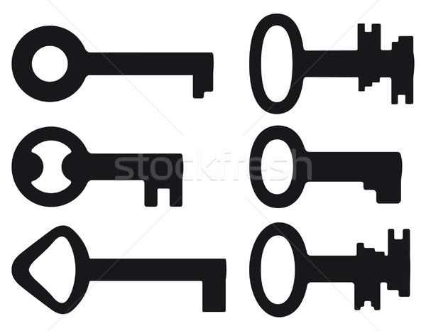 Zes klein sleutels ingesteld zwarte silhouetten Stockfoto © mannaggia