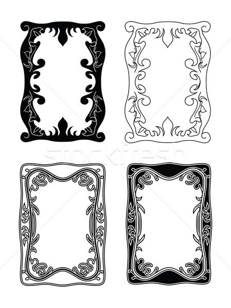 Foto frames zwart wit achtergrond interieur retro Stockfoto © mannaggia