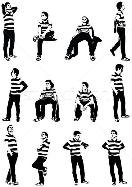 待って 男性 セット シルエット 文字 孤立した ストックフォト © mannaggia