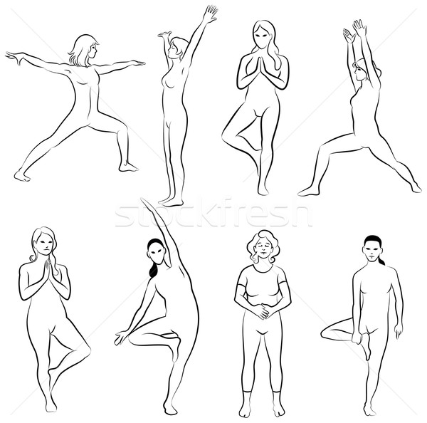 Stockfoto: Meditatie · yoga · zwart · wit · ingesteld · schets