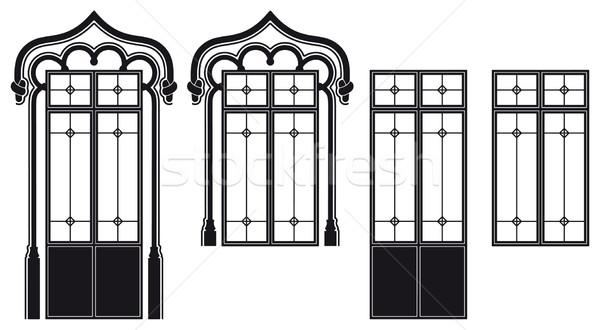 窓 2 異なる ドア ウィンドウ 黒 ストックフォト © mannaggia