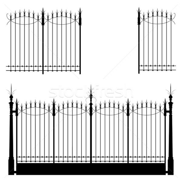 ストックフォト: ゲート · 鉄 · デザイン · 金属 · 黒