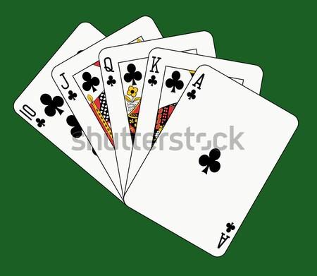 Zdjęcia stock: Pełny · domu · karty · do · gry · zielone · twarz