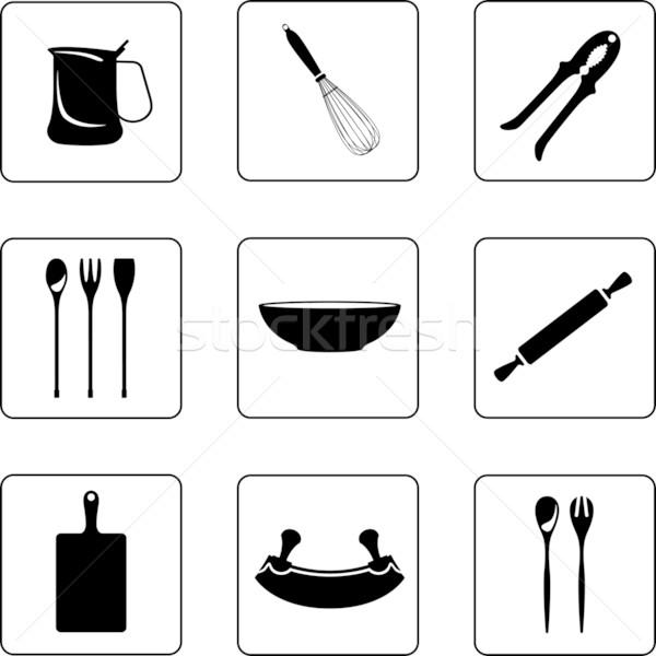 другой кухонные принадлежности объекты черно белые девять Сток-фото © mannaggia