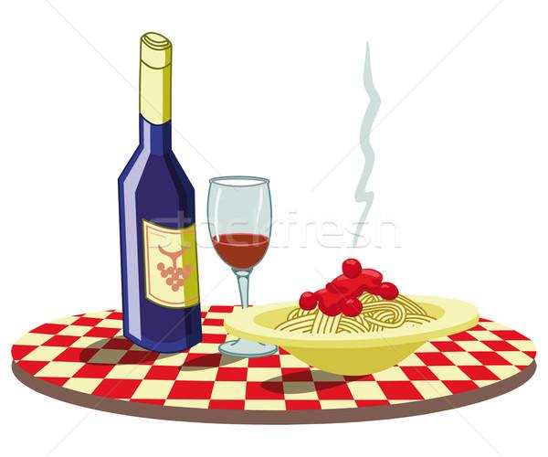 спагетти вино постоянно итальянской кухни ресторан таблице Сток-фото © mannaggia