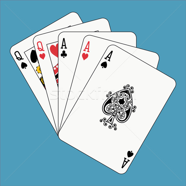 Plein maison cartes à jouer visage bleu Photo stock © mannaggia