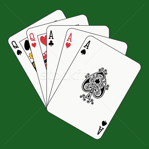 Stok fotoğraf: Tok · ev · aces · iskambil · kartları · yüz · yeşil