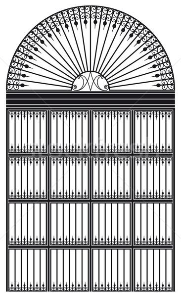 Vasaló porta feketefehér terv ajtó fém Stock fotó © mannaggia
