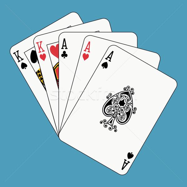 Completo casa carte da gioco faccia blu Foto d'archivio © mannaggia