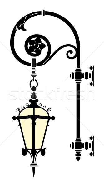 Wall Street lampe fer élégante noir Photo stock © mannaggia