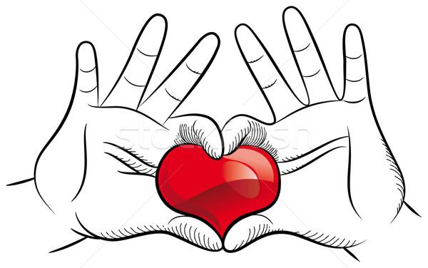 любви рук пару стороны черный силуэта Сток-фото © mannaggia