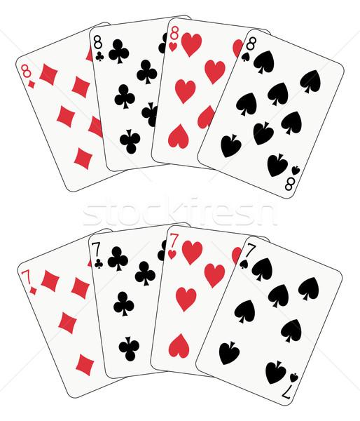 покер восемь семь игральных карт два лице Сток-фото © mannaggia