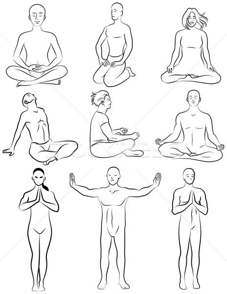 ストックフォト: 瞑想 · 黒白 · セット · 定型化された
