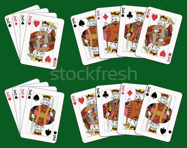четыре игральных карт различный зеленый отдельный уровень Сток-фото © mannaggia