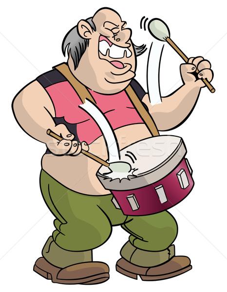 Fat sloppy drummer Stock photo © mannaggia
