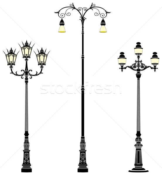 Piano strada lampade tre ferro elegante Foto d'archivio © mannaggia