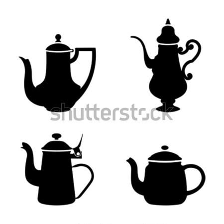 Bianco nero sagome bar tè nero silhouette Foto d'archivio © mannaggia