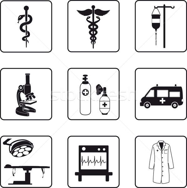 Medical symbols and equipment Stock photo © mannaggia