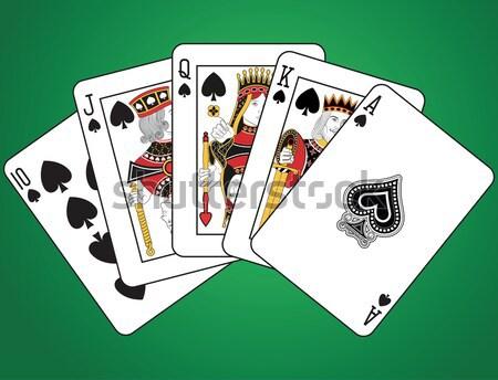 полный дома Тузы игральных карт зеленый лице Сток-фото © mannaggia