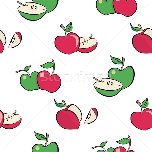 бесшовный яблоки шаблон красный зеленый Cartoon Сток-фото © mannaggia
