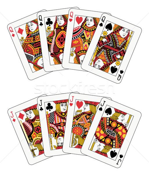 покер королева игральных карт два костюм клуба Сток-фото © mannaggia