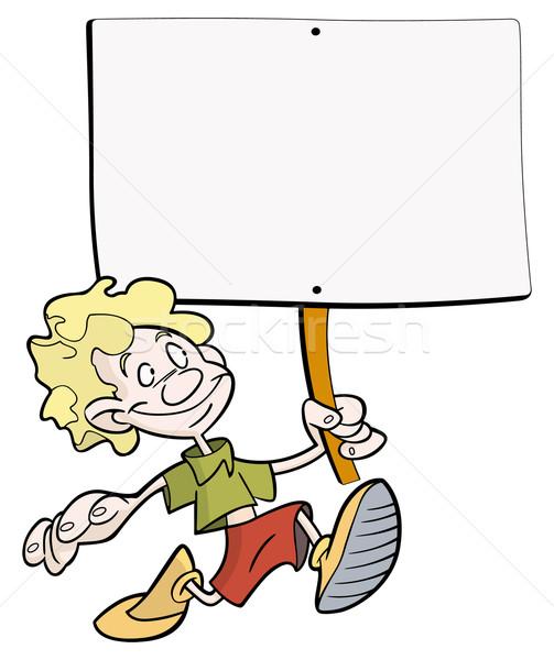 мальчика плакат смешные знак обувь Сток-фото © mannaggia